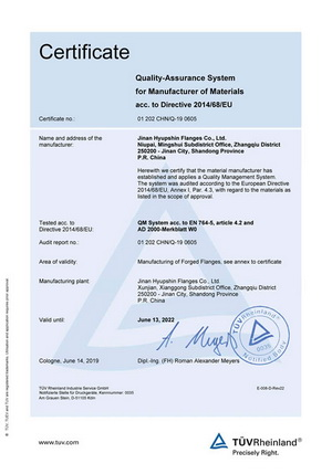 ISO9001-2015 TUV Rheinland for flanges manufacturing and sales